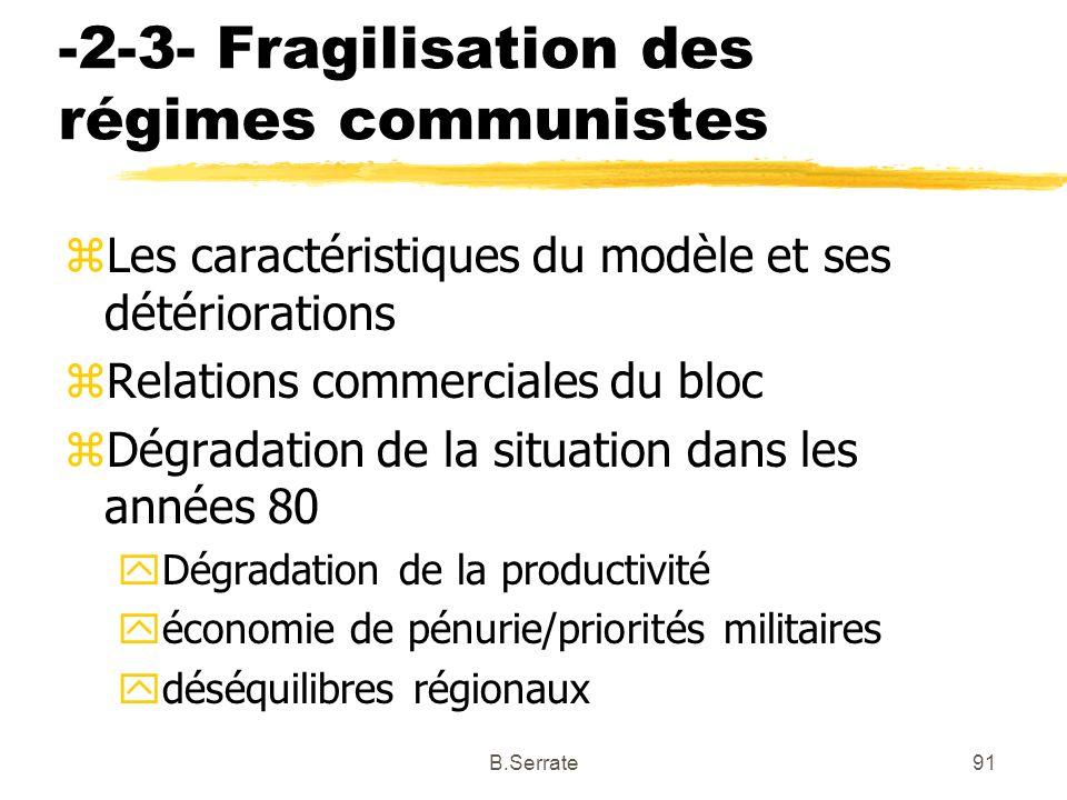 -2-3- Fragilisation des régimes communistes zLes caractéristiques du modèle et ses détériorations zRelations commerciales du bloc zDégradation de la s