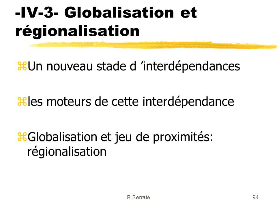 -IV-3- Globalisation et régionalisation zUn nouveau stade d interdépendances zles moteurs de cette interdépendance zGlobalisation et jeu de proximités