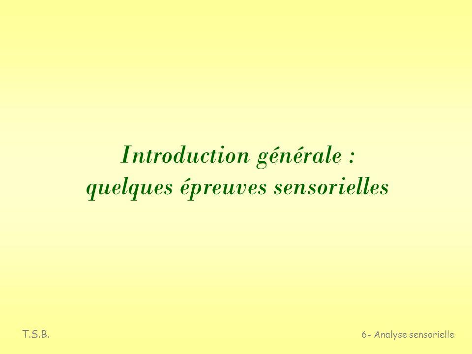 T.S.B. 6- Analyse sensorielle Introduction générale : quelques épreuves sensorielles