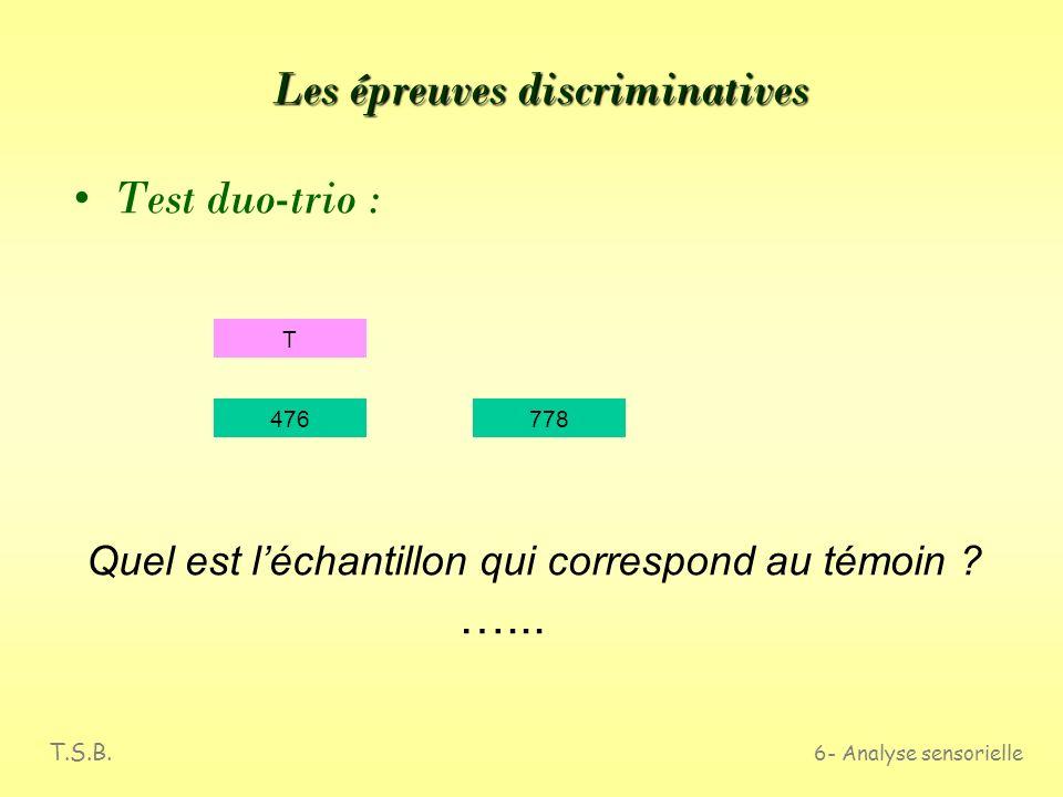 T.S.B. 6- Analyse sensorielle Les épreuves discriminatives Épreuve dappariement : A 624863284975546 ABC BC