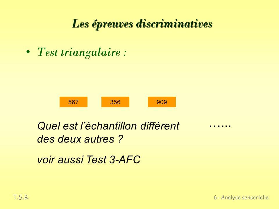 T.S.B. 6- Analyse sensorielle Les épreuves discriminatives Test duo-trio : 778 T 476 Quel est léchantillon qui correspond au témoin ? …...