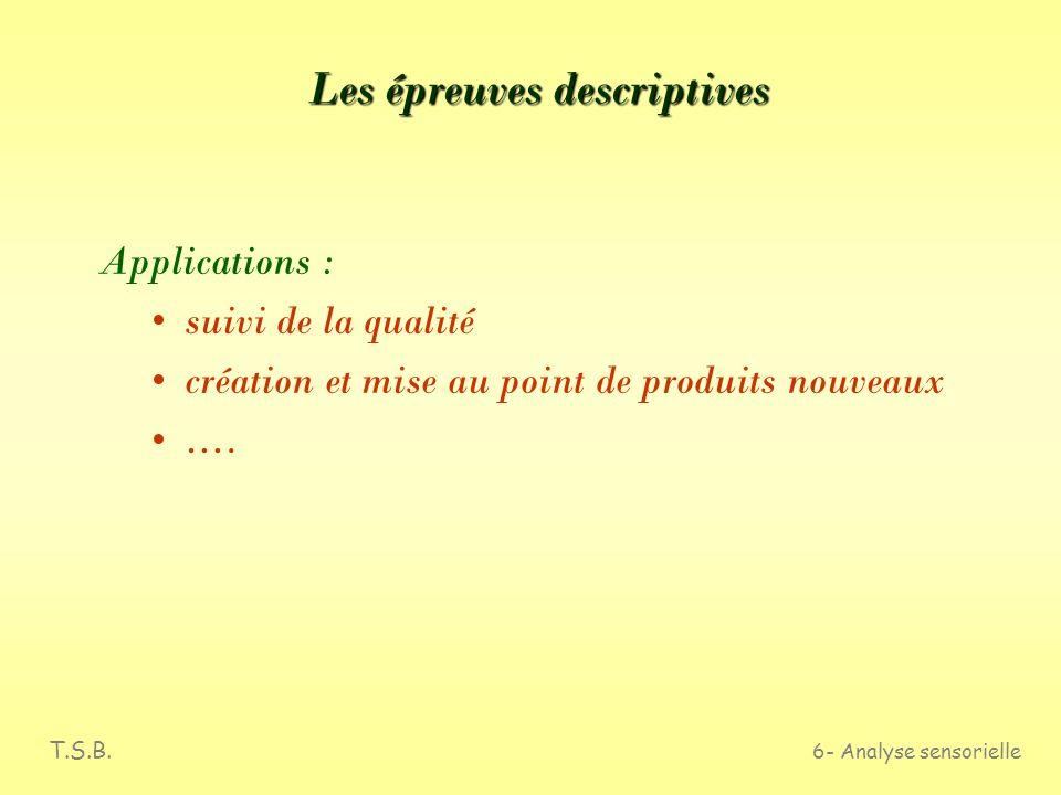 T.S.B. 6- Analyse sensorielle Les épreuves descriptives Définition Elles ont pour objectif dévaluer qualitativement et quantitativement les caractéris