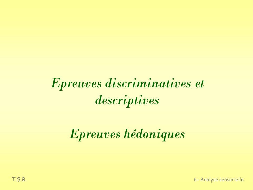 T.S.B. 6- Analyse sensorielle Epreuves discriminatives et descriptives Epreuves hédoniques