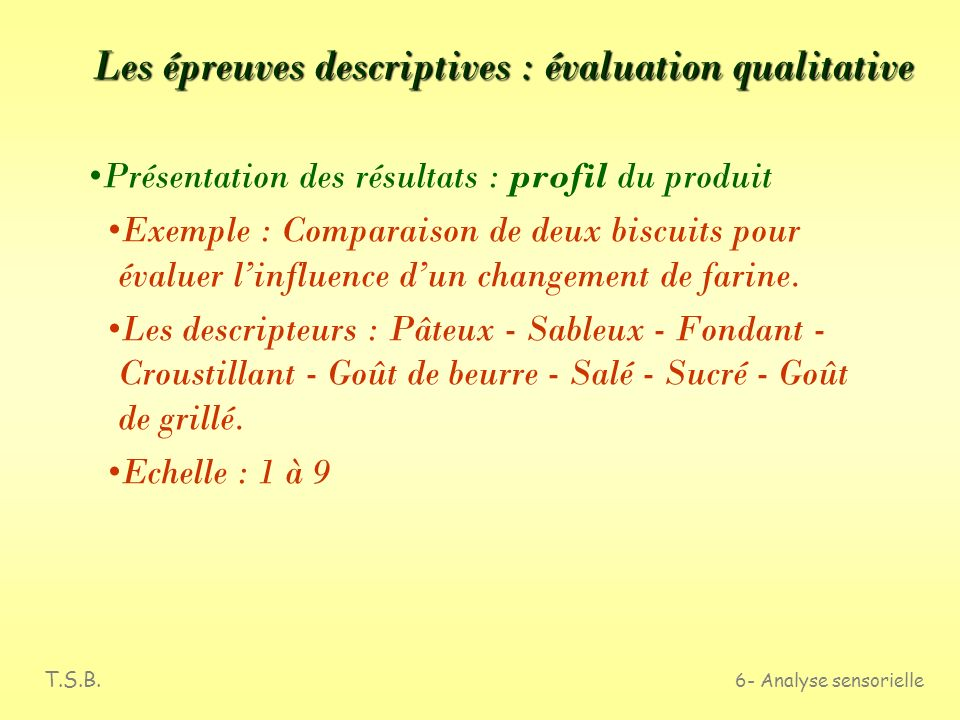 T.S.B. 6- Analyse sensorielle Les épreuves descriptives : évaluation qualitative 3ème étape : Chaque sujet utilise la liste précédente pour tester les