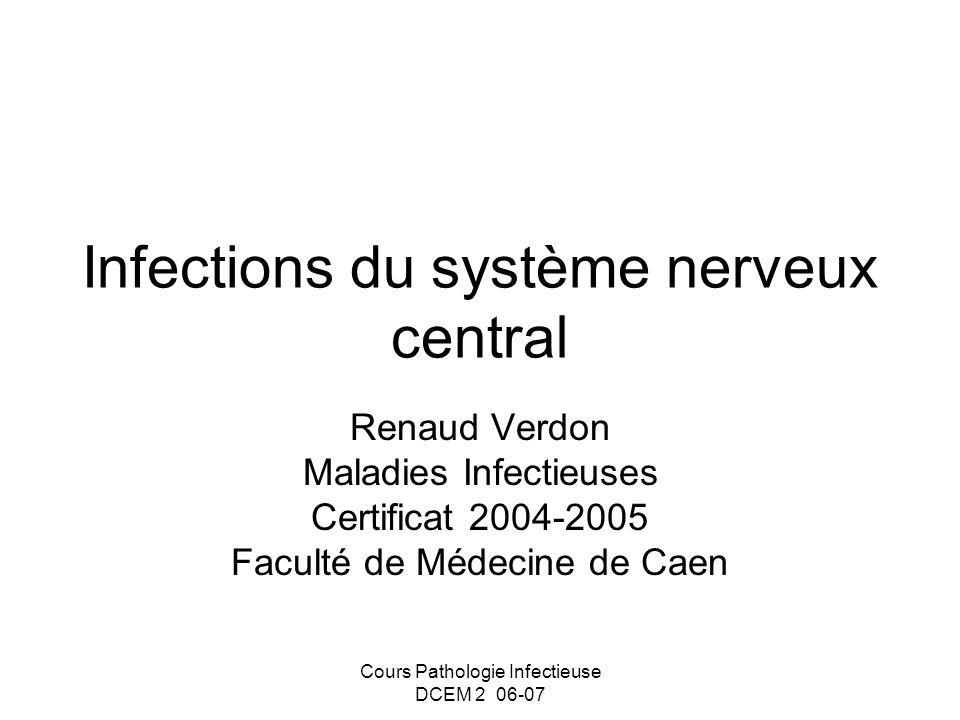 Cours Pathologie Infectieuse DCEM 2 06-07 Infections du système nerveux central Renaud Verdon Maladies Infectieuses Certificat 2004-2005 Faculté de Mé