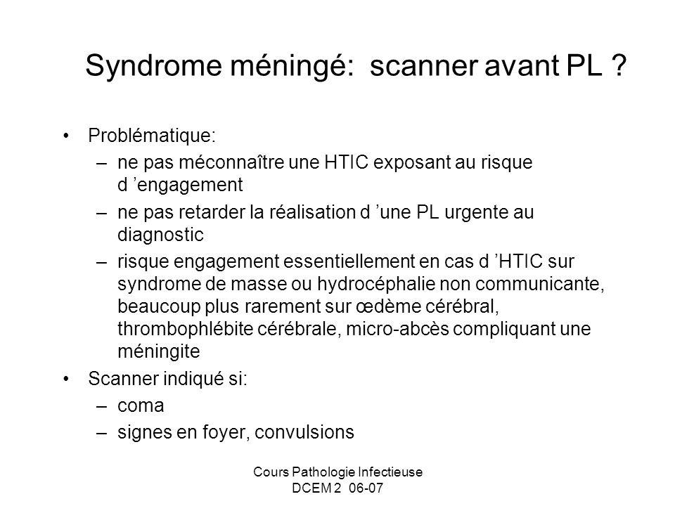 Cours Pathologie Infectieuse DCEM 2 06-07 Syndrome méningé: scanner avant PL ? Problématique: –ne pas méconnaître une HTIC exposant au risque d engage