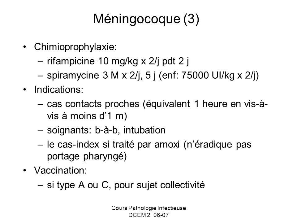Cours Pathologie Infectieuse DCEM 2 06-07 Méningocoque (3) Chimioprophylaxie: –rifampicine 10 mg/kg x 2/j pdt 2 j –spiramycine 3 M x 2/j, 5 j (enf: 75