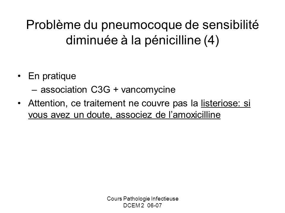 Cours Pathologie Infectieuse DCEM 2 06-07 Problème du pneumocoque de sensibilité diminuée à la pénicilline (4) En pratique –association C3G + vancomyc
