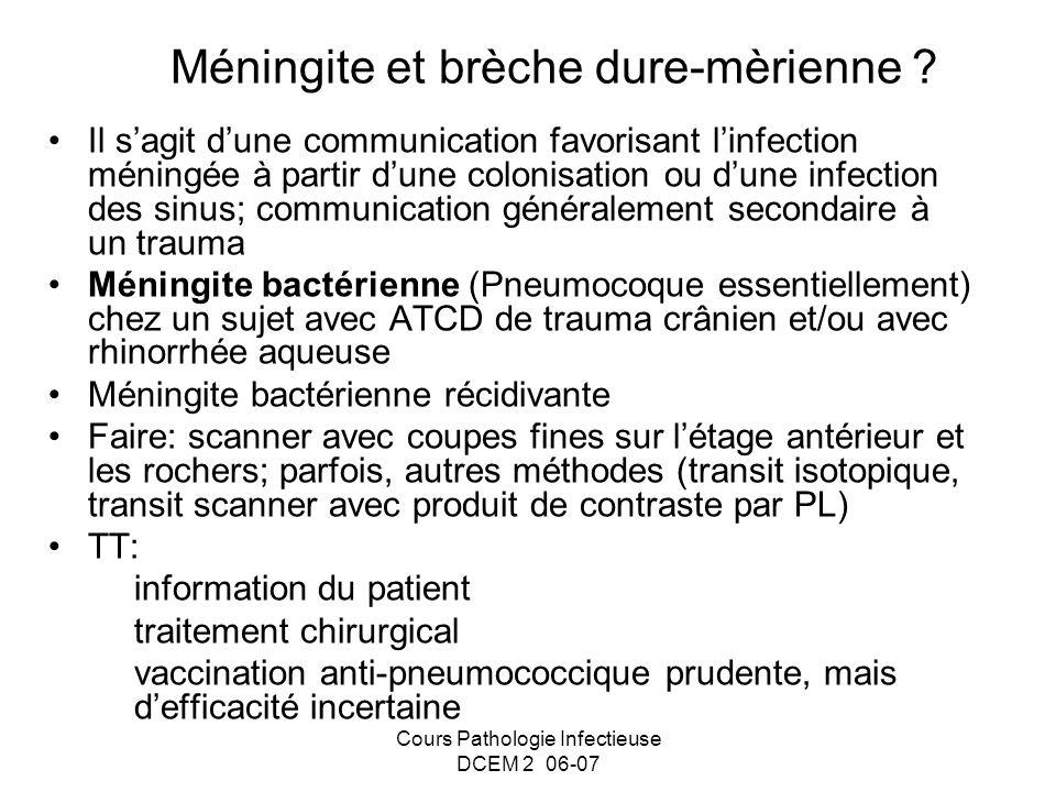 Cours Pathologie Infectieuse DCEM 2 06-07 Méningite et brèche dure-mèrienne ? Il sagit dune communication favorisant linfection méningée à partir dune