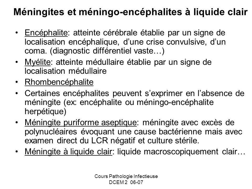Cours Pathologie Infectieuse DCEM 2 06-07 Méningites et méningo-encéphalites à liquide clair Encéphalite: atteinte cérébrale établie par un signe de l
