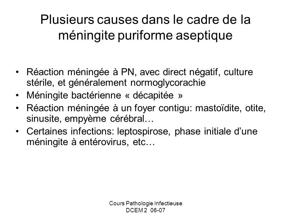 Cours Pathologie Infectieuse DCEM 2 06-07 Plusieurs causes dans le cadre de la méningite puriforme aseptique Réaction méningée à PN, avec direct négat