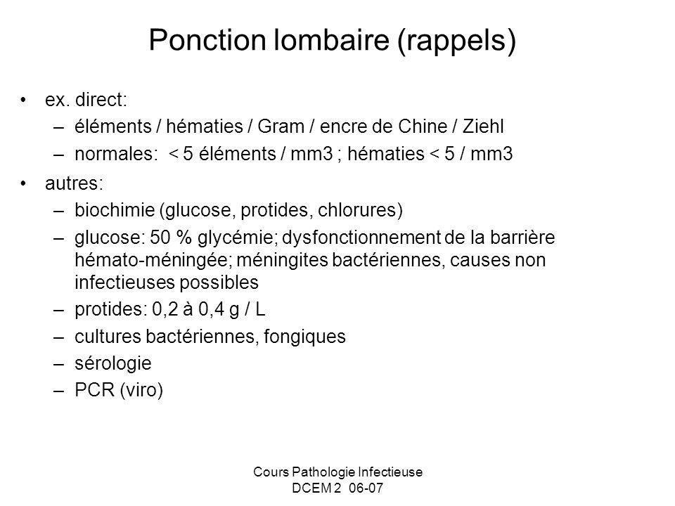 Ponction lombaire (rappels) ex. direct: –éléments / hématies / Gram / encre de Chine / Ziehl –normales: < 5 éléments / mm3 ; hématies < 5 / mm3 autres