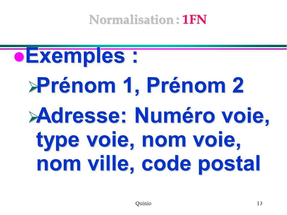 Quinio13 Normalisation : 1FN Exemples : Exemples : Prénom 1, Prénom 2 Prénom 1, Prénom 2 Adresse: Numéro voie, type voie, nom voie, nom ville, code po