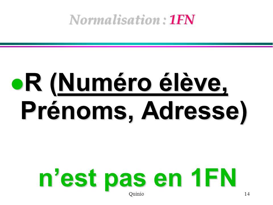 Quinio14 Normalisation : 1FN R (Numéro élève, Prénoms, Adresse) R (Numéro élève, Prénoms, Adresse) nest pas en 1FN nest pas en 1FN