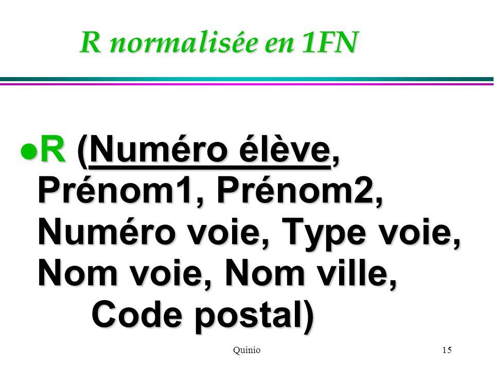 Quinio15 R normalisée en 1FN R (Numéro élève, Prénom1, Prénom2, Numéro voie, Type voie, Nom voie, Nom ville, Code postal) R (Numéro élève, Prénom1, Pr