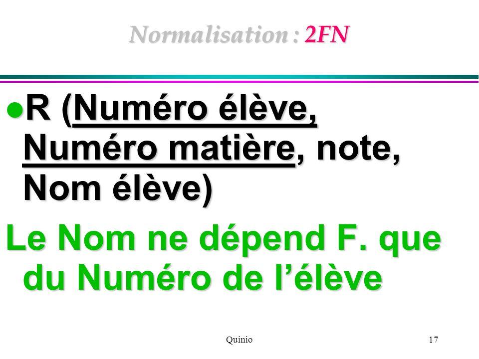Quinio17 Normalisation : 2FN R (Numéro élève, Numéro matière, note, Nom élève) R (Numéro élève, Numéro matière, note, Nom élève) Le Nom ne dépend F. q