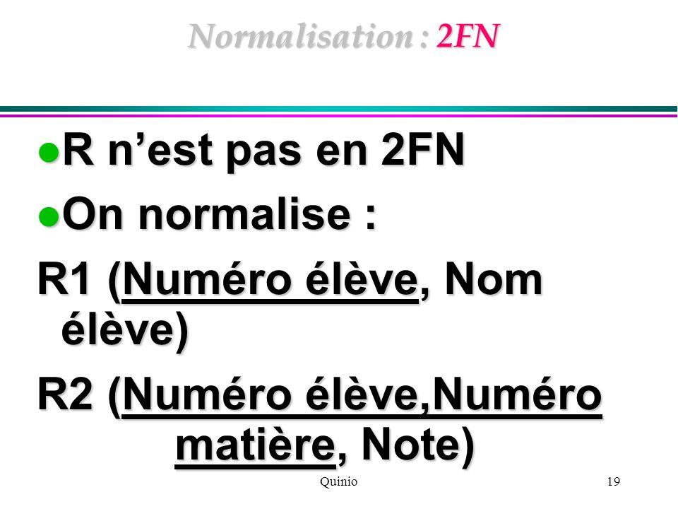 Quinio19 Normalisation : 2FN R nest pas en 2FN R nest pas en 2FN On normalise : On normalise : R1 (Numéro élève, Nom élève) R2 (Numéro élève,Numéro ma