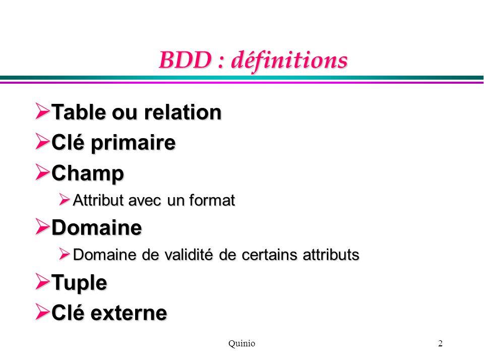 Quinio3 BDD : démarche Conception : Conception : modélisation modélisation Développement : Développement : création, optimisation création, optimisation Test Test Utilisation et mise à jour Utilisation et mise à jour Maintenance Maintenance GestionInformatique GestionInformatique Gestion Informatique