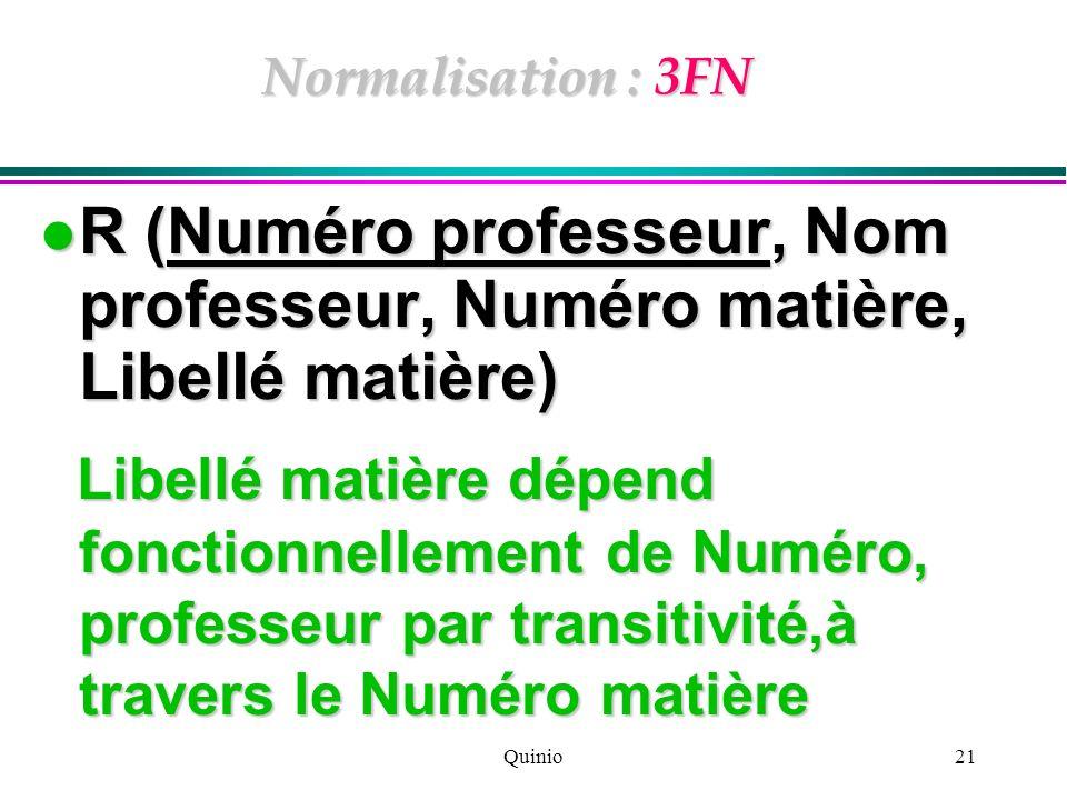 Quinio21 Normalisation : 3FN R (Numéro professeur, Nom professeur, Numéro matière, Libellé matière) R (Numéro professeur, Nom professeur, Numéro matiè