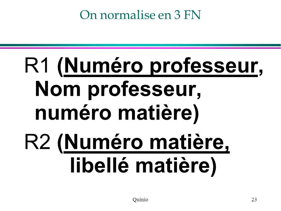 Quinio23 On normalise en 3 FN R1 (Numéro professeur, Nom professeur, numéro matière) R2 (Numéro matière, libellé matière)