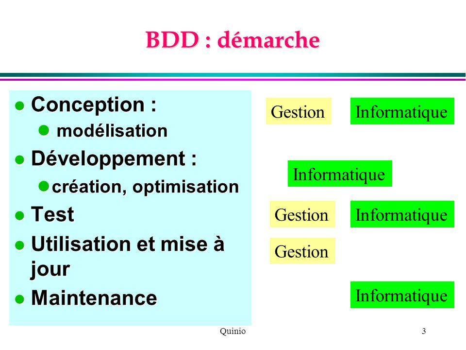 Quinio3 BDD : démarche Conception : Conception : modélisation modélisation Développement : Développement : création, optimisation création, optimisati
