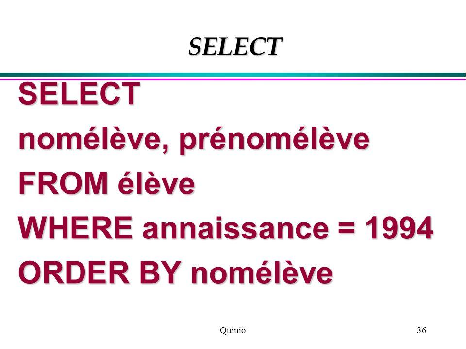 Quinio36 SELECT nomélève, prénomélève FROM élève WHERE annaissance = 1994 ORDER BY nomélève SELECT