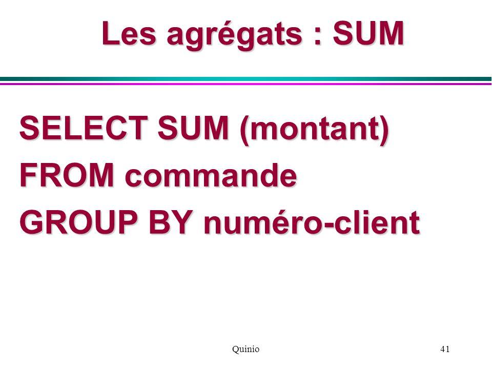 Quinio41 Les agrégats : SUM SELECT SUM (montant) FROM commande GROUP BY numéro-client
