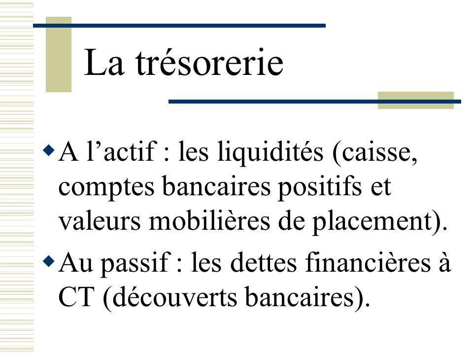 La trésorerie A lactif : les liquidités (caisse, comptes bancaires positifs et valeurs mobilières de placement). Au passif : les dettes financières à