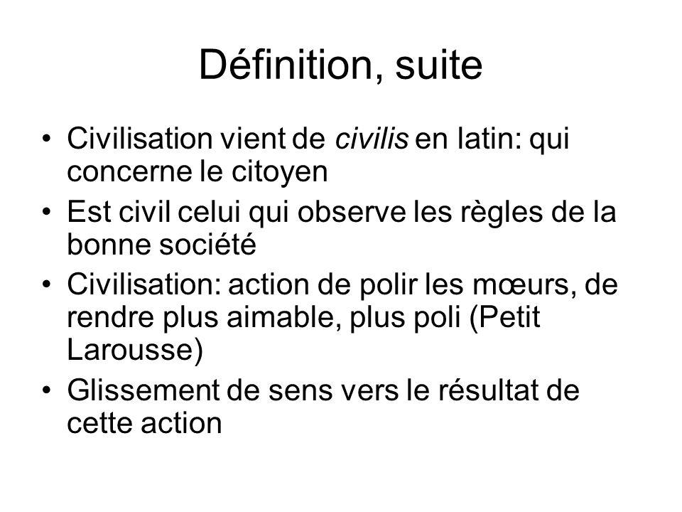 Définition, suite Civilisation vient de civilis en latin: qui concerne le citoyen Est civil celui qui observe les règles de la bonne société Civilisat