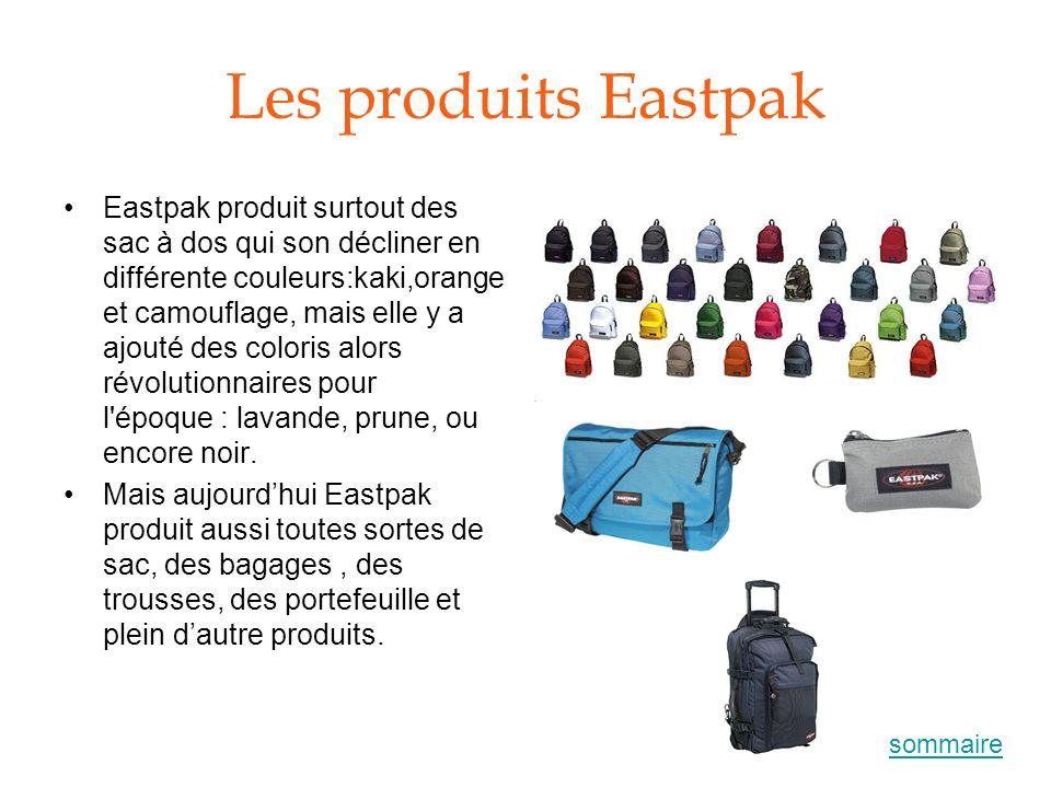 Les produits Eastpak Eastpak produit surtout des sac à dos qui son décliner en différente couleurs:kaki,orange et camouflage, mais elle y a ajouté des