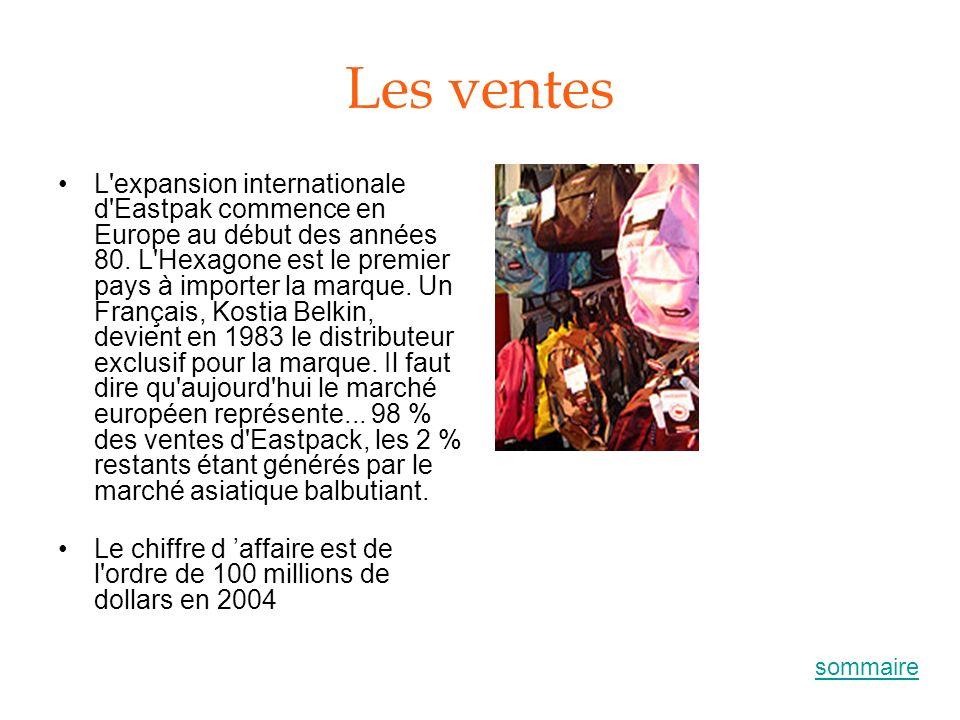 Les ventes L'expansion internationale d'Eastpak commence en Europe au début des années 80. L'Hexagone est le premier pays à importer la marque. Un Fra