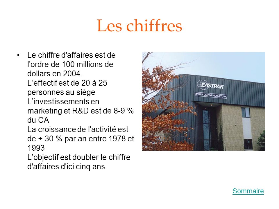 Les chiffres Le chiffre d'affaires est de l'ordre de 100 millions de dollars en 2004. Leffectif est de 20 à 25 personnes au siège Linvestissements en