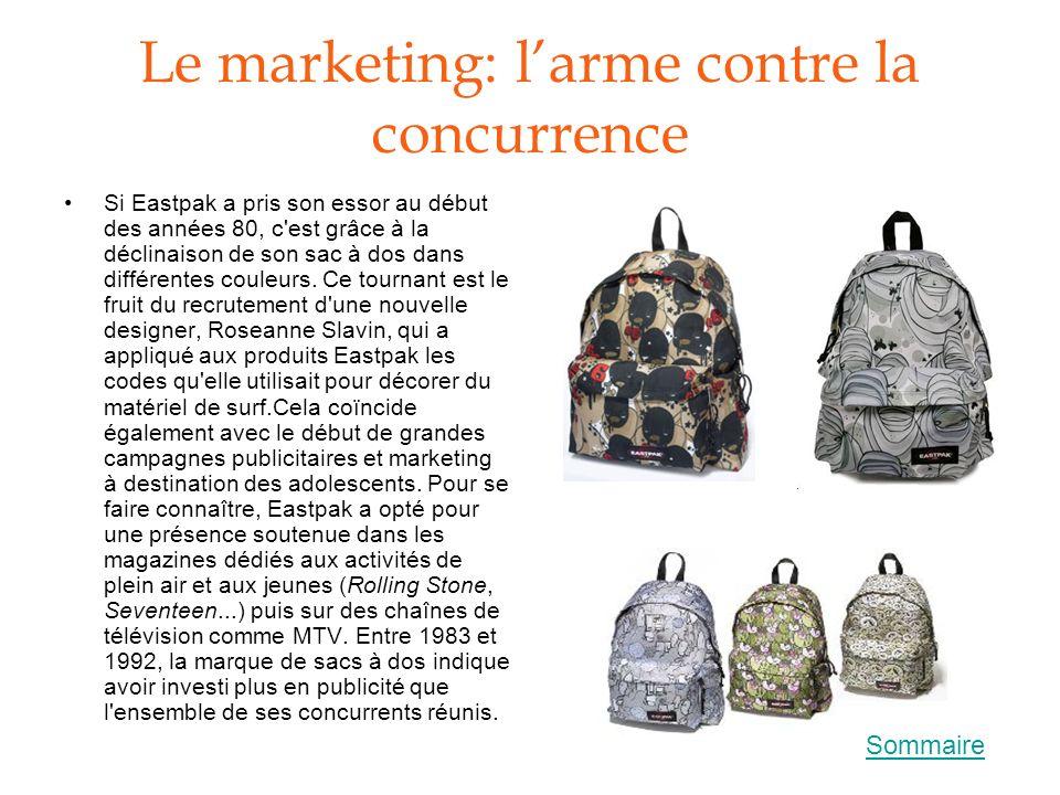 Le marketing: larme contre la concurrence Si Eastpak a pris son essor au début des années 80, c'est grâce à la déclinaison de son sac à dos dans diffé