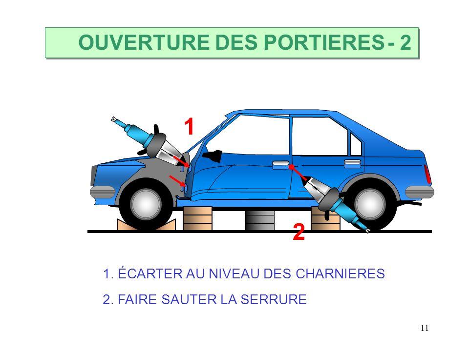 11 2 1. ÉCARTER AU NIVEAU DES CHARNIERES 2. FAIRE SAUTER LA SERRURE 1 OUVERTURE DES PORTIERES - 2