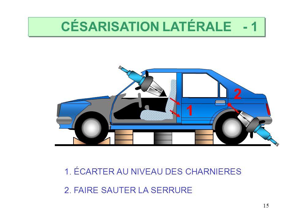 15 1 2 CÉSARISATION LATÉRALE 1. ÉCARTER AU NIVEAU DES CHARNIERES 2. FAIRE SAUTER LA SERRURE - 1