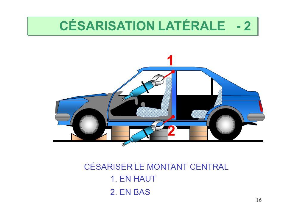16 1 2 CÉSARISER LE MONTANT CENTRAL 1. EN HAUT 2. EN BAS CÉSARISATION LATÉRALE - 2