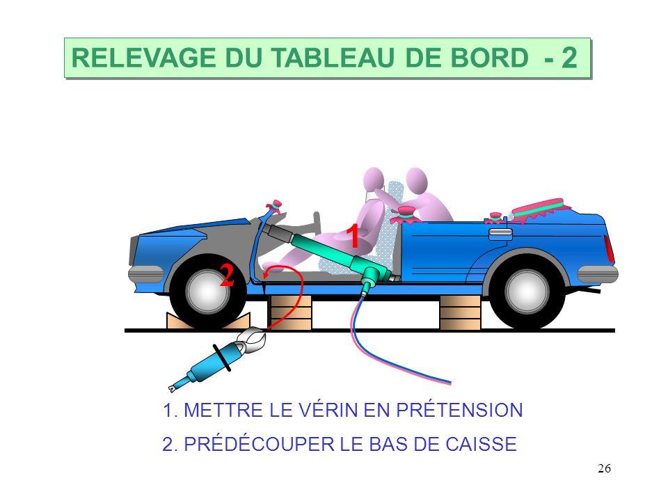 26 1. METTRE LE VÉRIN EN PRÉTENSION 2. PRÉDÉCOUPER LE BAS DE CAISSE RELEVAGE DU TABLEAU DE BORD - 2 1 2