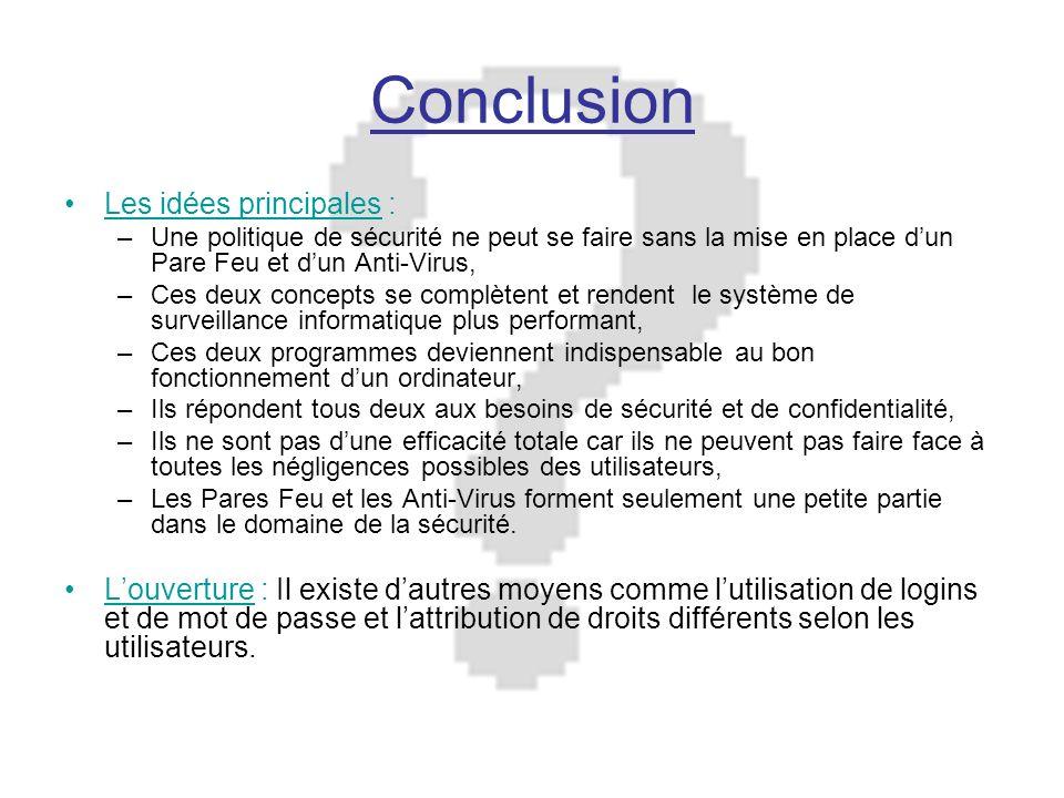 Conclusion Les idées principales : –Une politique de sécurité ne peut se faire sans la mise en place dun Pare Feu et dun Anti-Virus, –Ces deux concept