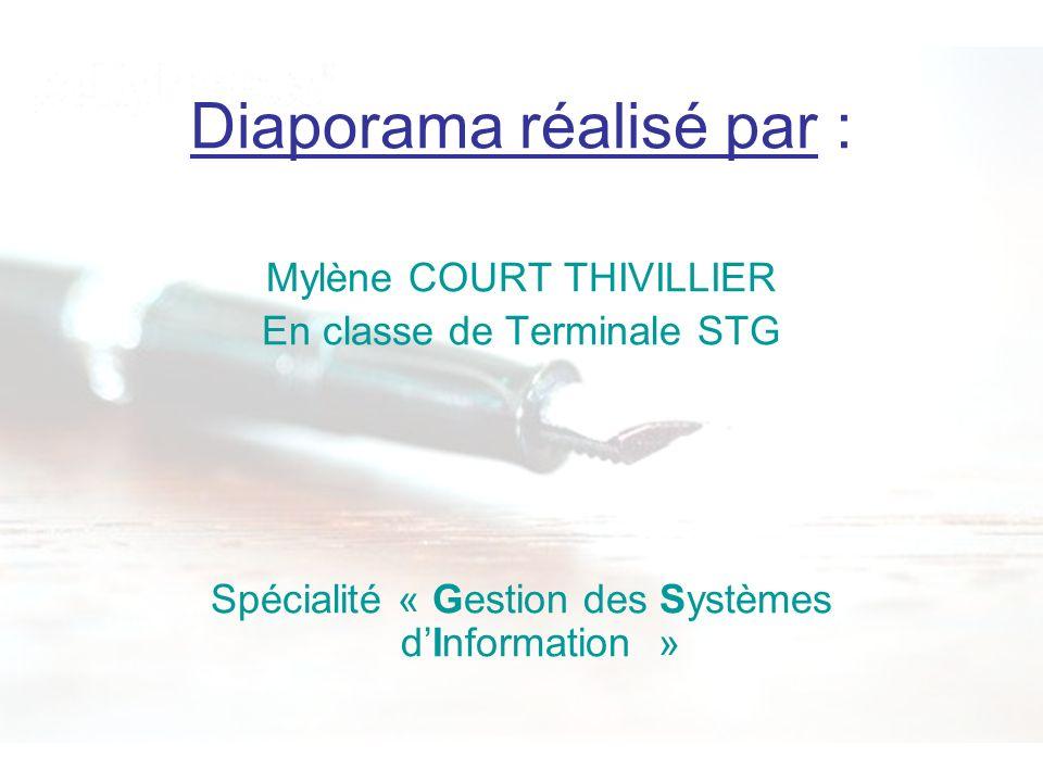 Diaporama réalisé par : Mylène COURT THIVILLIER En classe de Terminale STG Spécialité « Gestion des Systèmes dInformation »