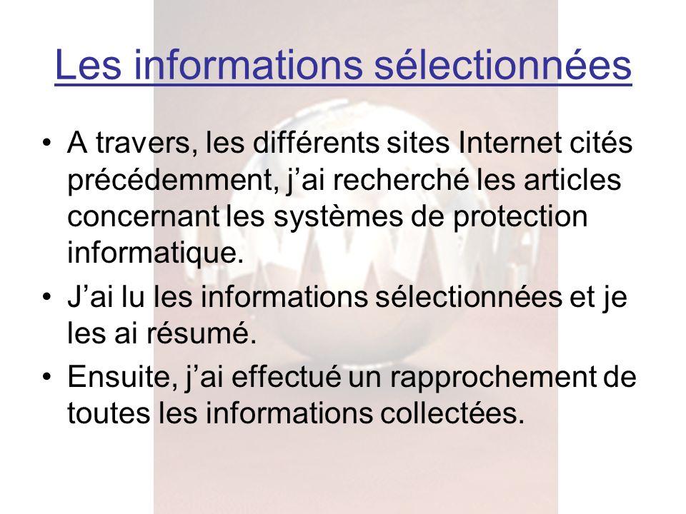 A travers, les différents sites Internet cités précédemment, jai recherché les articles concernant les systèmes de protection informatique. Jai lu les