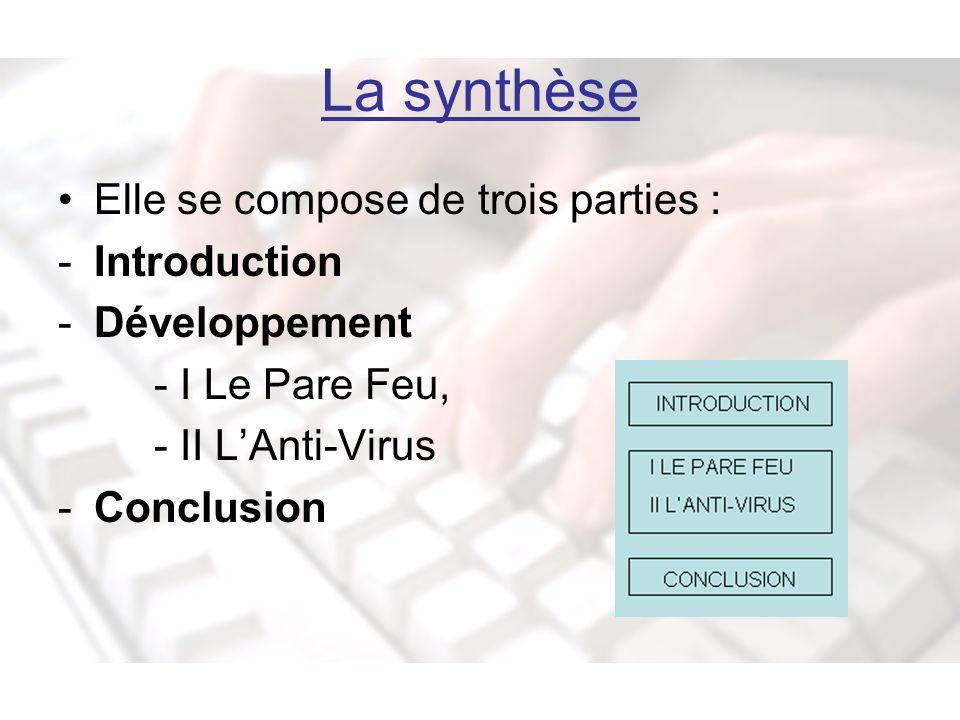 La synthèse Elle se compose de trois parties : -Introduction -Développement - I Le Pare Feu, - II LAnti-Virus -Conclusion