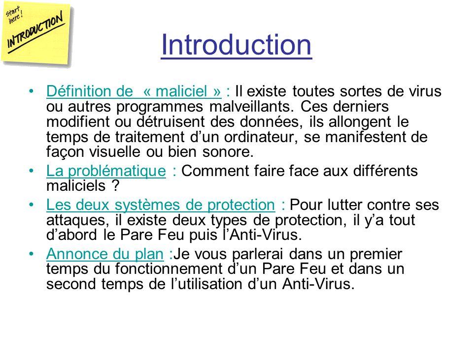 Introduction Définition de « maliciel » : Il existe toutes sortes de virus ou autres programmes malveillants. Ces derniers modifient ou détruisent des