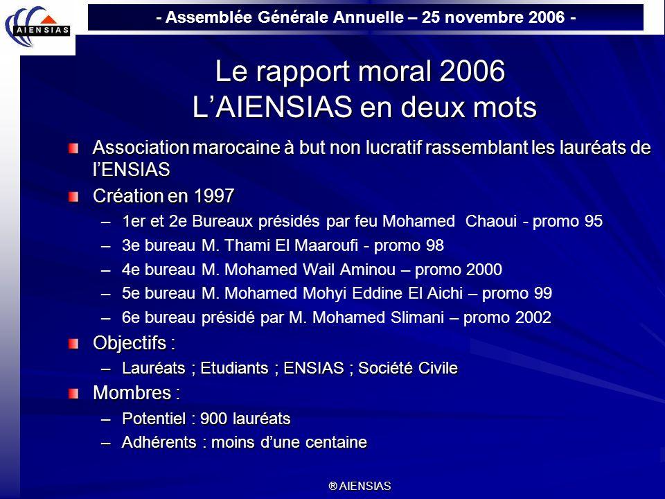 - Assemblée Générale Annuelle – 25 novembre 2006 - ® AIENSIAS Le rapport moral 2006 LAIENSIAS en deux mots Association marocaine à but non lucratif ra