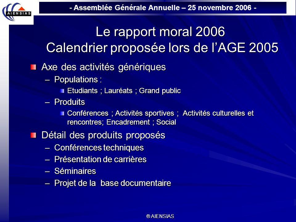 - Assemblée Générale Annuelle – 25 novembre 2006 - ® AIENSIAS Le rapport moral 2006 Calendrier proposée lors de lAGE 2005 Axe des activités génériques