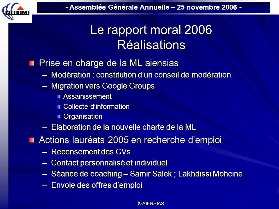 - Assemblée Générale Annuelle – 25 novembre 2006 - ® AIENSIAS Le rapport moral 2006 Réalisations Prise en charge de la ML aiensias –Modération : const