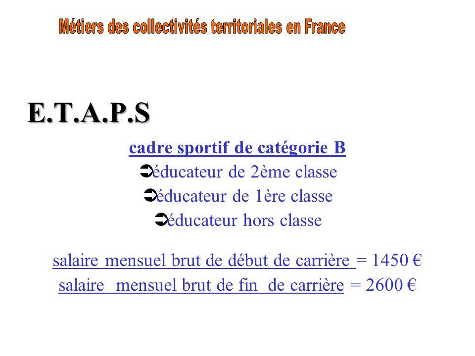 E.T.A.P.S cadre sportif de catégorie B Ü éducateur de 2ème classe Ü éducateur de 1ère classe Ü éducateur hors classe salaire mensuel brut de début de
