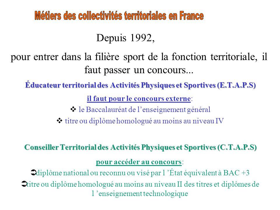 Depuis 1992, pour entrer dans la filière sport de la fonction territoriale, il faut passer un concours... Éducateur territorial des Activités Physique