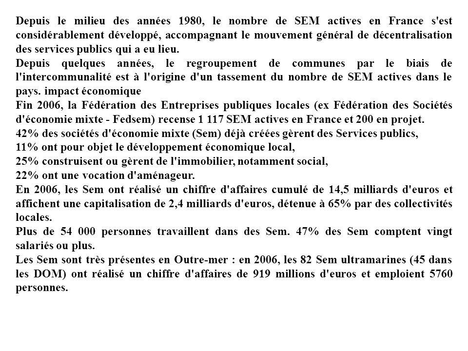 Depuis le milieu des années 1980, le nombre de SEM actives en France s'est considérablement développé, accompagnant le mouvement général de décentrali