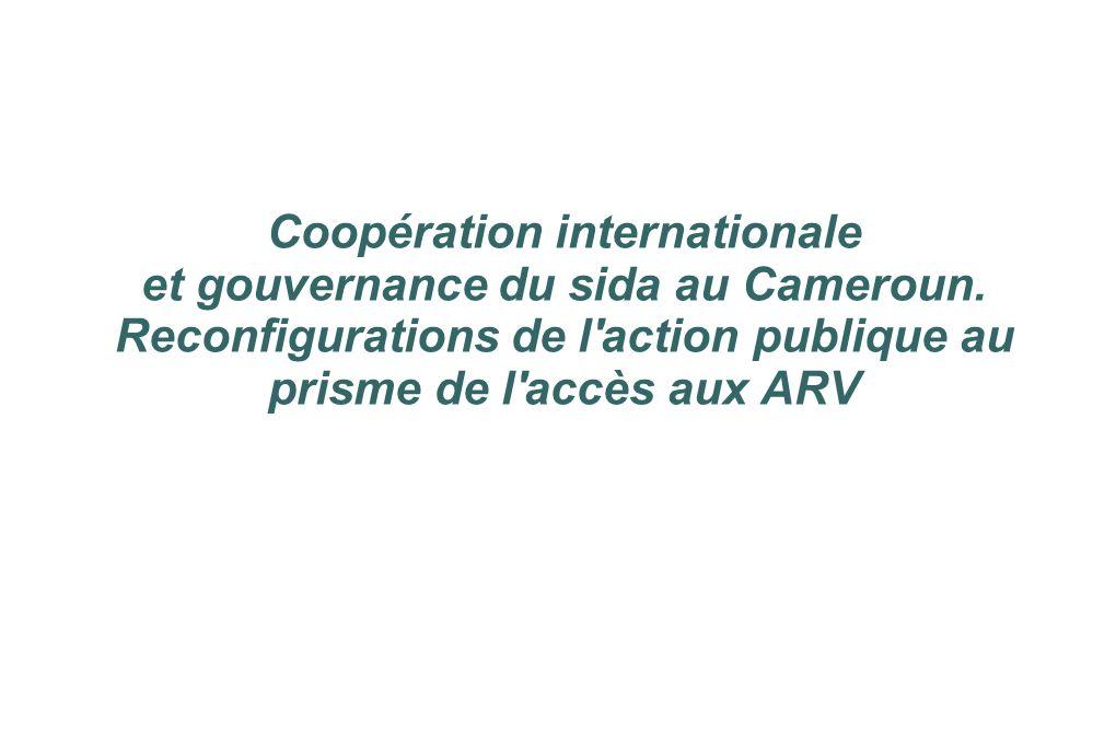 Coopération internationale et gouvernance du sida au Cameroun. Reconfigurations de l'action publique au prisme de l'accès aux ARV