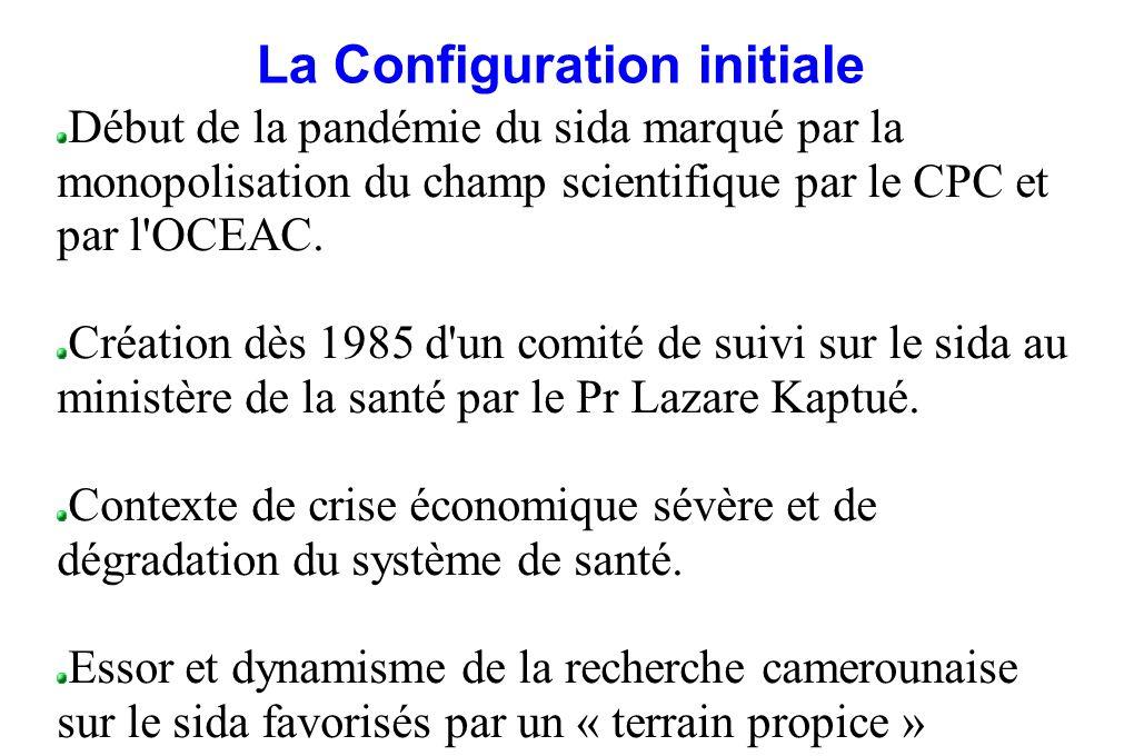 La Configuration initiale Début de la pandémie du sida marqué par la monopolisation du champ scientifique par le CPC et par l'OCEAC. Création dès 1985
